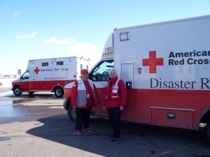 Jan Traversa and Dee Knutson, American Red Cross Lakeland Chapter Volunteers, with the Emergency Response Vehicle (ERV).  Jan and Dee where deployed with the ERV to support mass feeding for the emergency personnel and volunteers affected by the Red River Flooding.