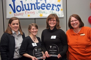 (l-r) Jill Lavarda, Community, Teen and Family YMCA Director,  Erin Headley, Research Scientist, Schreiber Foods, Inc. and Sarah Kerbel, Community Coordinator, American Red Cross (award winners) and Kay Vanden Branden, YMCA Girls Night Out Coordinator.