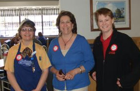 (L-R) Mary Schultz, Store Manager, Culver's West Mason, Lea Culver, Co-Founder of Culver's, and Barbar Behling, American Red Cross Regional Community Development Officer