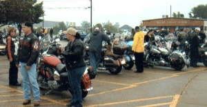 Bikers getting ready to ride starting at Applejack's Bar, Marinette.