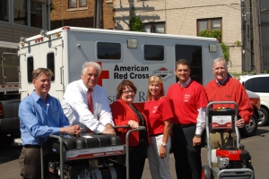 Steven Hansen, chapter executive American Red Cross Northeast WI, Jerry DeFrancisco, president, humanitarian servcies of the American Red Cross; Patty Flowers, regional chapter executive of Eastern WI, Laura Timm, Community Relations, Briggs & Stratton, Todd Teske, Chairman, President & CEO of Briggs & Stratton Corporation, and Tom Mooney, regional chapter executive of Western WI