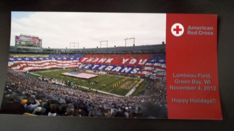 One of the many cards distributed. Thank you to the Green Bay Packers for  providing the picture and Camera Corner Connection Point in creating these cards for our community to sign for military members and Veterans.