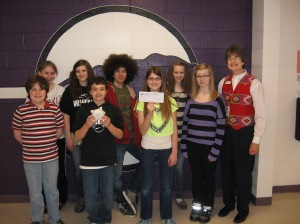 Pictured L to R:    Waupaca Middle School Student Council and Vicki P. Jenks, American Red Cross in Northeast Wisconsin Board Member.
