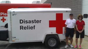 (l-r) Ron Maloney and Nancy Mirhashemi, Disaster Volunteers in front of the new trailer.