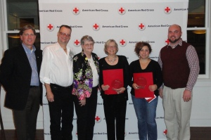 (l-r) Steve Hansen, COO, James Fousek, Edith Fousek with our 2013 Victor Fousek Emergency Services Award Recipients Sharon Holt and Michelle Vogeltanz, Nick Cluppert, Disaster Director