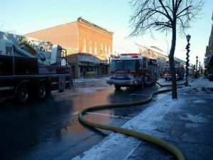 Fire department on scene of the Ripon Downtown fire displacing 26 people. (photo courtesy WBAY facebook page)