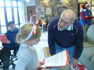 Students from Franklin Elementary read their letters and cards to the Veterans at the Wisconsin Veteran's Home at King.