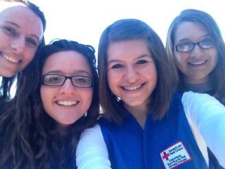 (l-r) UW Oshkosh Red Cross Club Members  Angie Dusenberry, Kaitlyn Schmitt and Samantha Johnson.