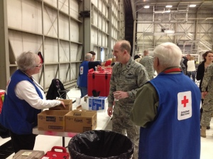 Major General Dunbar shares his appreciation with Red Cross volunteers. We provided beverage, tissues and even diapers to attendees.
