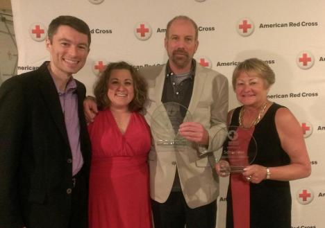 (l-r) Shawn Kiser, Major Gifts Officer, Jody Weyers, Director of Volunteers, Jim Rivett, Clara Barton Award Winner, and Mary Gronnert, Foundation Manager, Schneider, Corporate Benefactor Award.