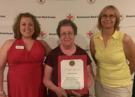 (l-r) Jody Weyers, Volunteer and Communications Director, Sharon Davister, Behind-the-Scenes Award Winner and Sue Reineck, Office Manager.
