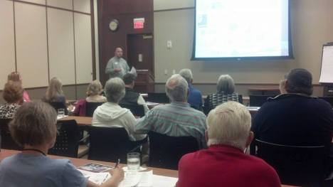 Nick Cluppert, Disaster Program Manager, presenting  to volunteers and community partners in West Bend.