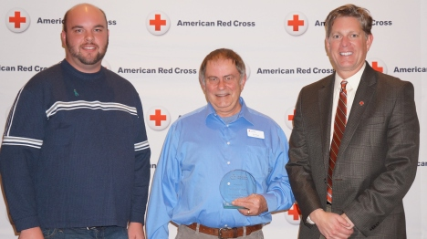 (l-r) NIck Cluppert, Disaster Program Manager, Tom Powell, Mental Health Disaster Volunteer, Steve Hansen, Chapter Executive.