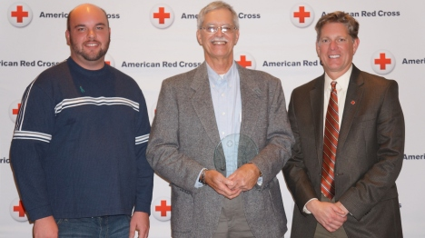 (l-r) NIck Cluppert, Disaster Program Manager, Charles Patzer, Disaster & Services to Armed Forces Volunteer, Steve Hansen, Chapter Executive.