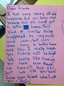 Letter from a Danz Student written to the children of the families impacted.