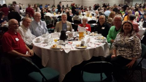 (left-right) Attending the breakfast on behalf of the American Red Cross Transportation Program: Randy Wery, Jeff Baum, Bill Craig, Kenton Immerfell, Cathy & Tom Harrison, Dick Neuses and Tina Whetung, Program Manager.
