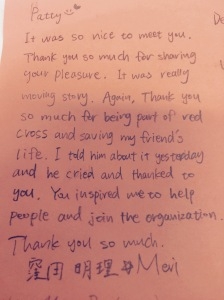This is her thank you note to me that I received just today.