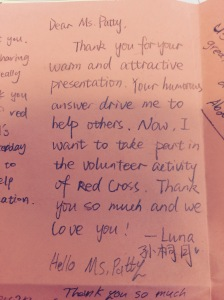 Here is another note from the class which is one of many telling me they want to volunteer: