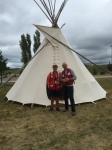 A tepee was brought in by the shelter so residents could do ceremonies. Brenda is joined by Gordon Bailey from the Canadian RedCross