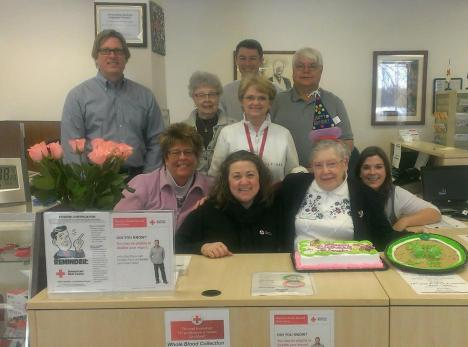 Blanche surrounded by her Red Cross family for her 98th birthday.