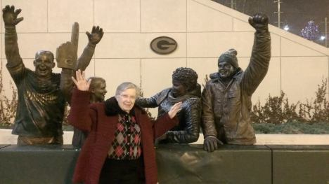 "Blanche at almost 99 years old doing the ""Lambeau Leap"""