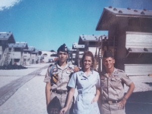 Mary Evans with soldiers Donut Dollies