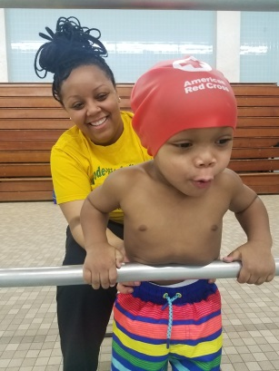Jaxon Oliphant Clark excited at pool with mom Ashton Clark Centennial JMAC Jan 2020